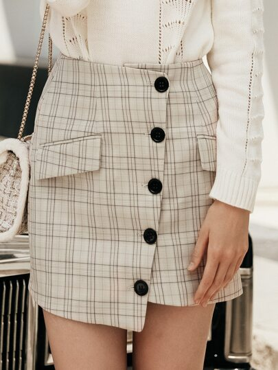 Plaid Button Front Wrap Skirt