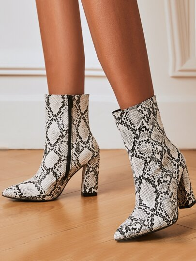 Point Toe Snakeskin Graphic Chunky Heeled Ankle Boots