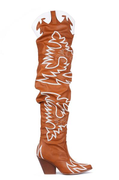 KELSEY-21 POWER TRIP WESTERN OVER THE KNEE BOOTS-TAN
