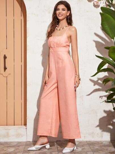 Ruched Wide Leg Cami Jumpsuit