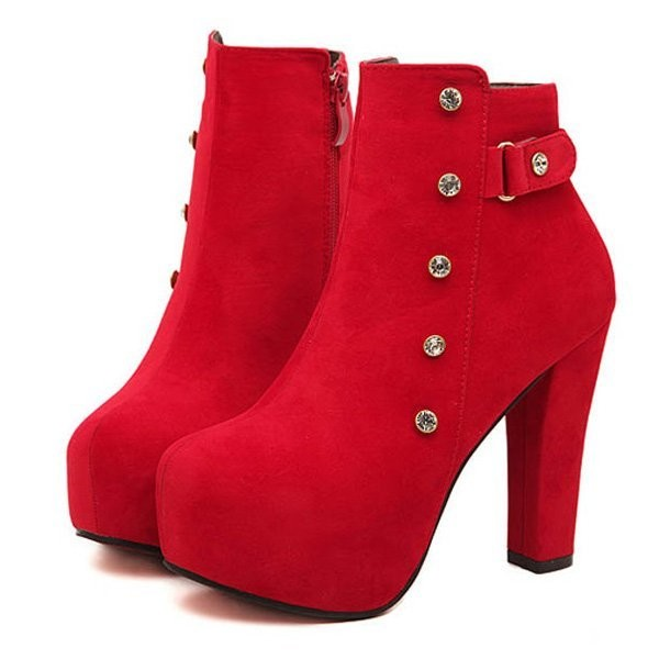Red Faux Suede Rhinestone Buckle Strappy Booties