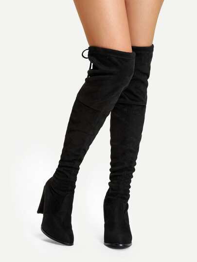 Suede Over The Knee Plain Boots