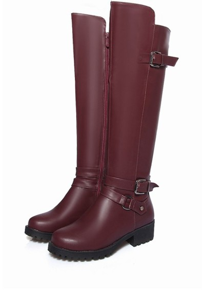 Dark Red Pu Buckle Strap Knee High Riding Boots
