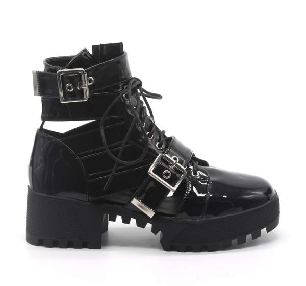 BEYOND CHUNKY PLATFORM STRAPPY ANKLE BUCKLE LACE BOOTS-BLACK