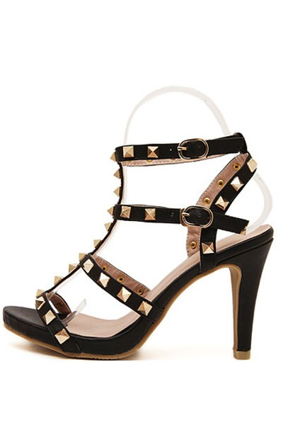 Black Open Toe Studded Casual Gladiator Heels