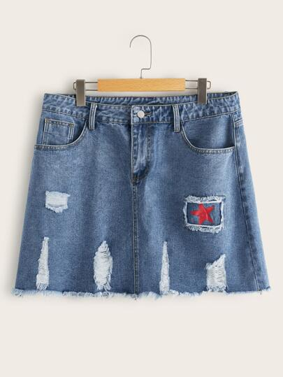 Plus Star Ripped Raw Hem Denim Straight Skirt