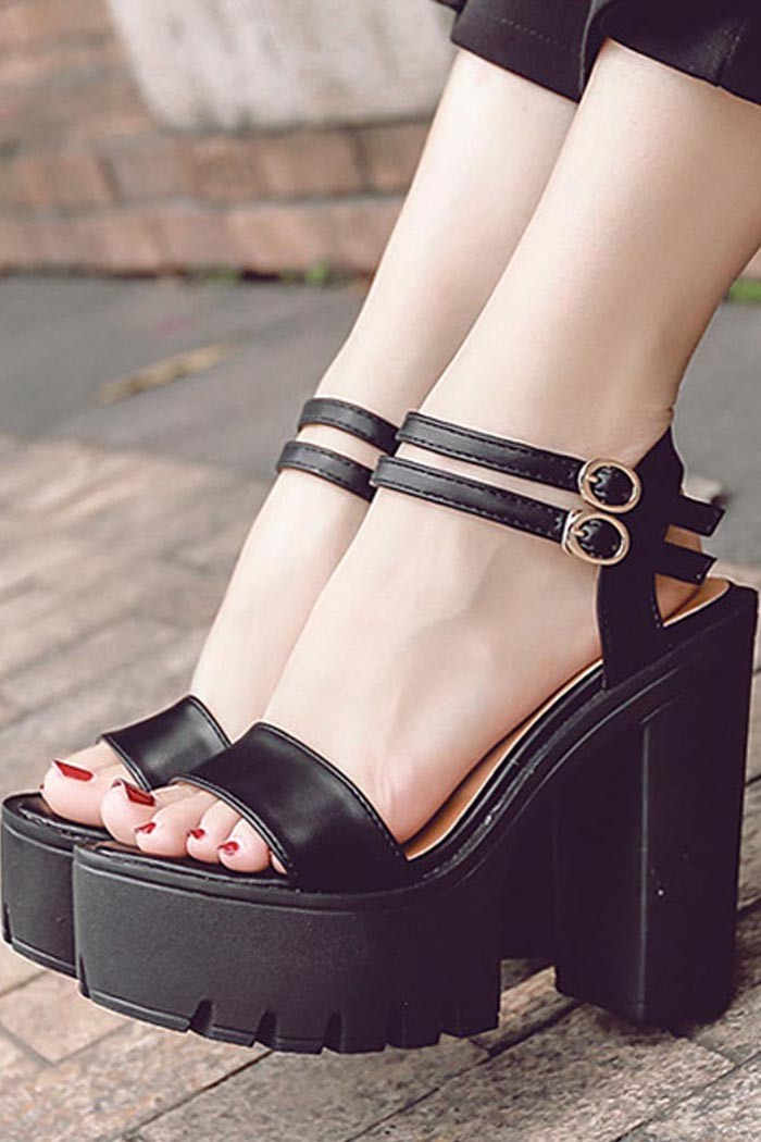 Black Open Toe Double Buckle Strap Platform Chunky High Heels