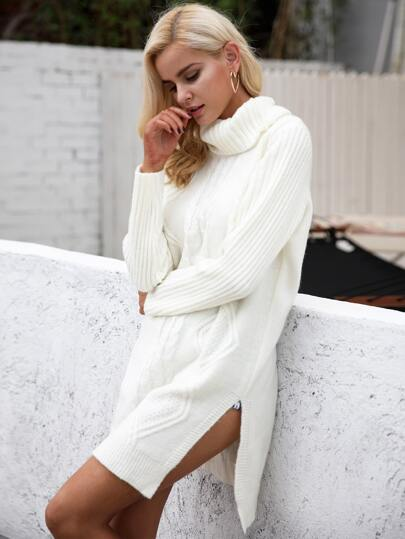 Split Hem Turtle Neck Sweater Dress