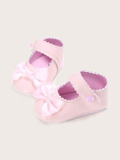 Baby Girls Bow Decor Scallop Trim Flats