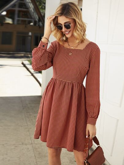 Houndstooth Print Square Neck Zipper Dress