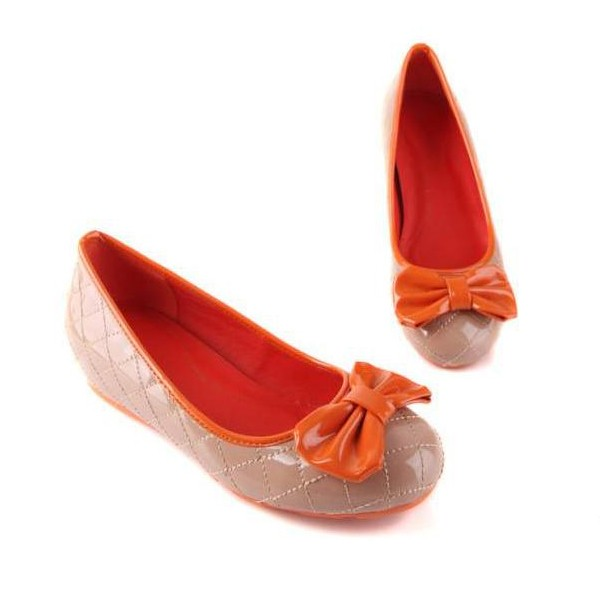 Faux Leather Pure Color Top Bow Sweet Flats