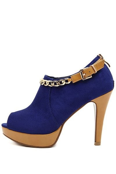 Blue Suede Peep Toe Chain Accent Platform Booties