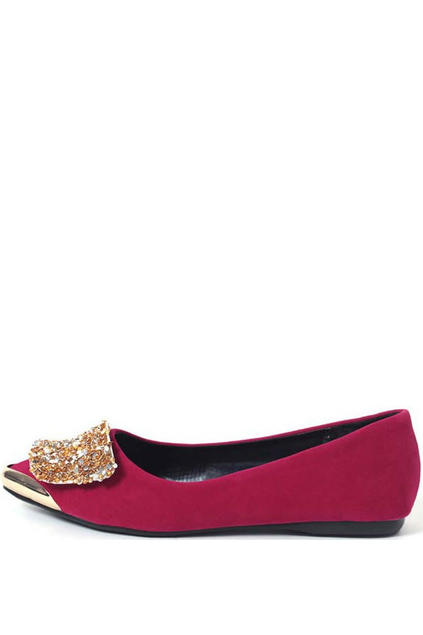 Red Faux Suede Sequins Metallic Flats