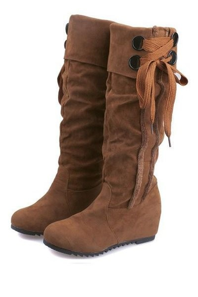 Brown Suede Side Lace Up Slouchy Mid Calf Boots