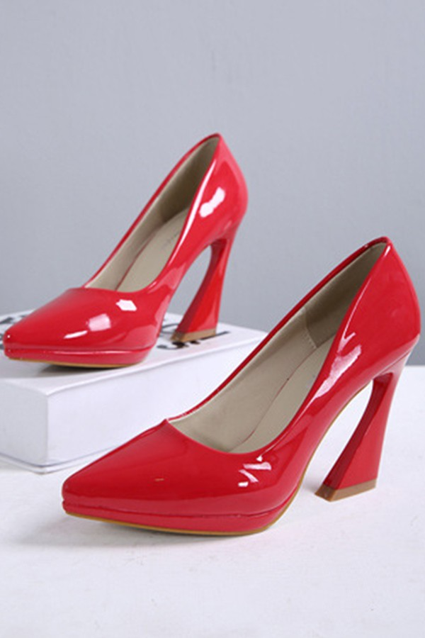 Red Faux Patent Pointed Toe Pump Heels