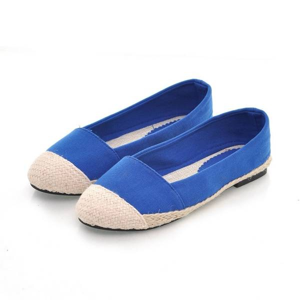 Comfortable Round Toe Color Block Flats