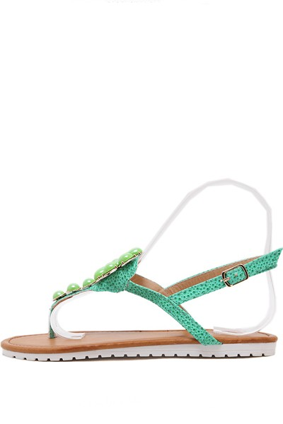 Green Faux Gemstone Thong Boho Sandals