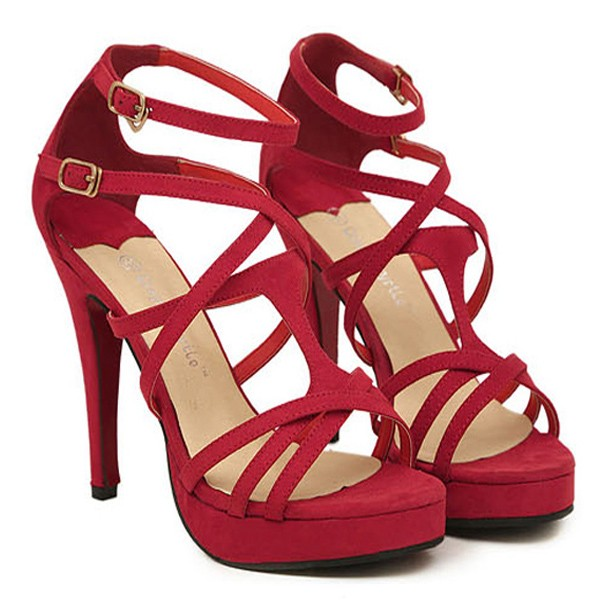 Red Suede Crisscross Strappy Heels