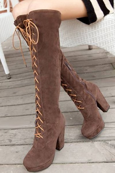Camel Suede Over The Knee Heels Boots