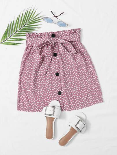 Ditsy Floral Button Front Belted Skirt