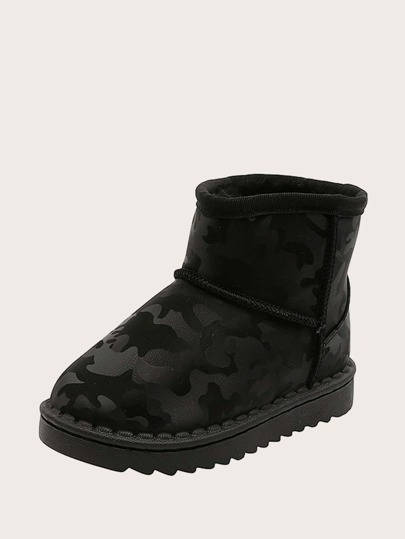 Boys Round Toe Fur Lined Snow Boots