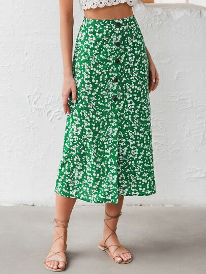Button Front Ditsy Floral Skirt