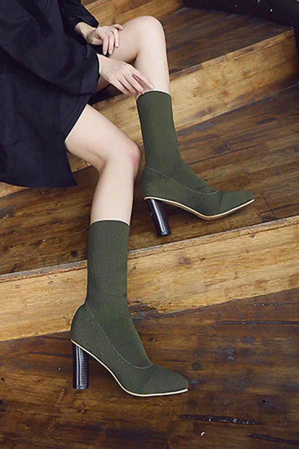 Army Green Pointed Toe Chunky Heel Mid Calf Sock Boots
