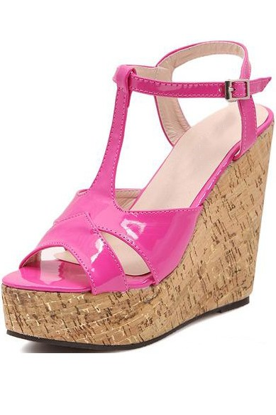 Fuchsia Faux Leather Cutout Cork Platform Wedges