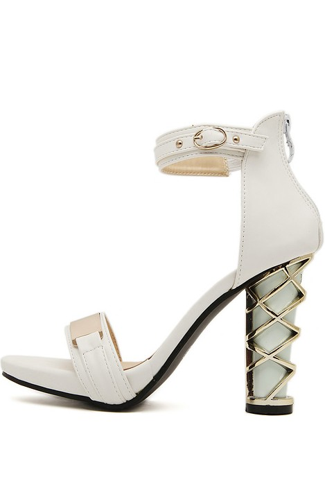 White Faux Leather Metallic Ankle Strap Heels