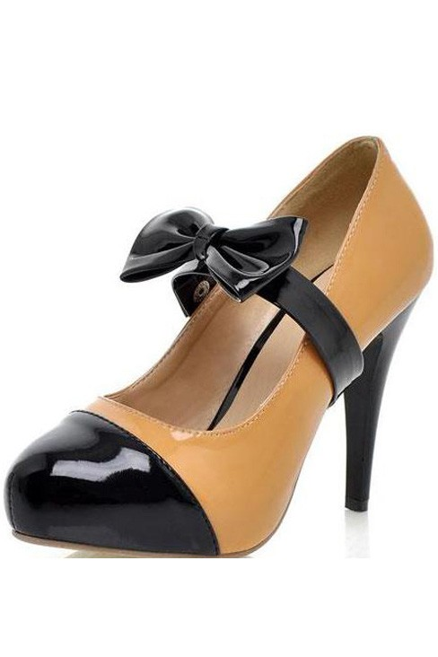 Faux Patent Leather Removable Bow Decor Heels
