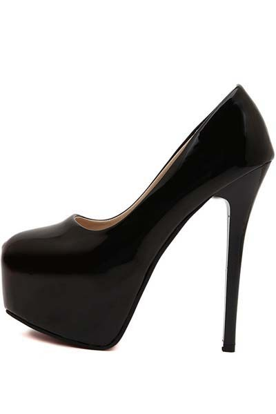 Black Patent Leather Pump Platform Stiletto Heels