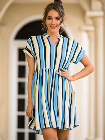 Vertical Striped Notched Neck Dress