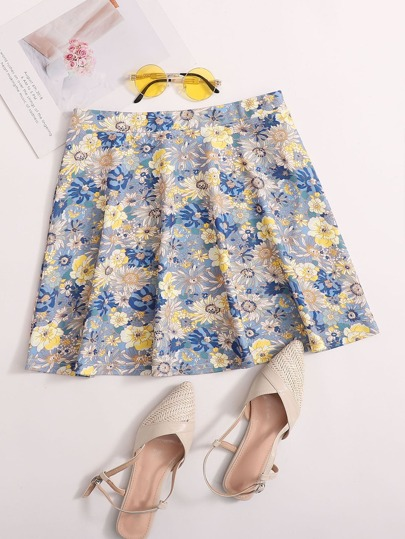Allover Floral Print Skater Skirt