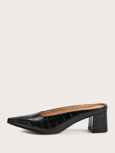 Point Toe Croc Embossed Heeled Mules