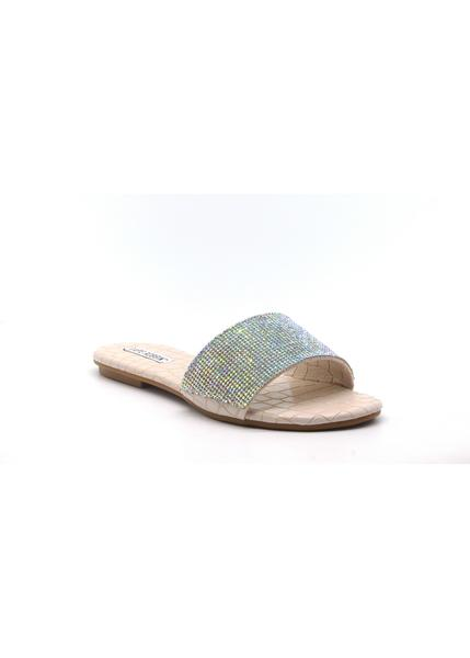 MUSCAT RHINESTONE WIDE BAND SLIP ON SLIDE SANDAL-NUDE