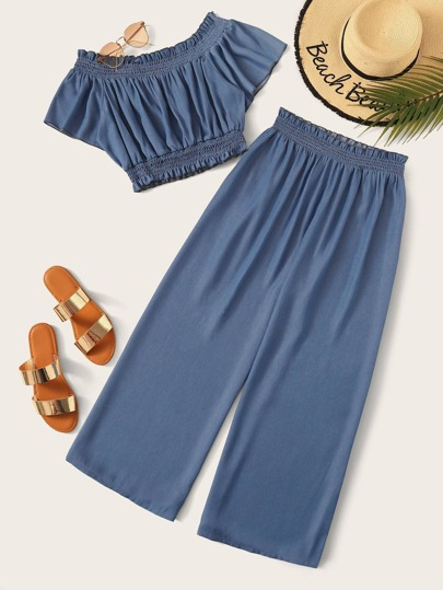 Plus Shirred Frill Crop Denim Top With Pants