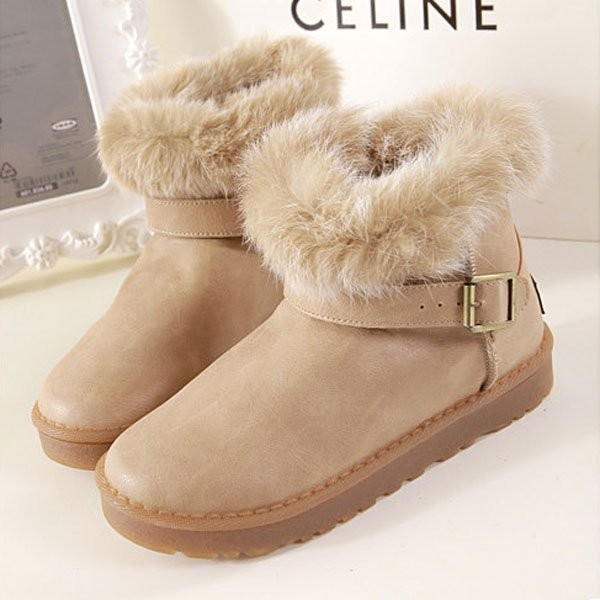 Light-brown Pu Faux Fur Buckle Strap Ankle Boots