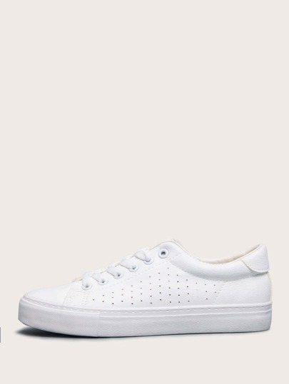 Lace-up Front Perforated Detail Skate Shoes