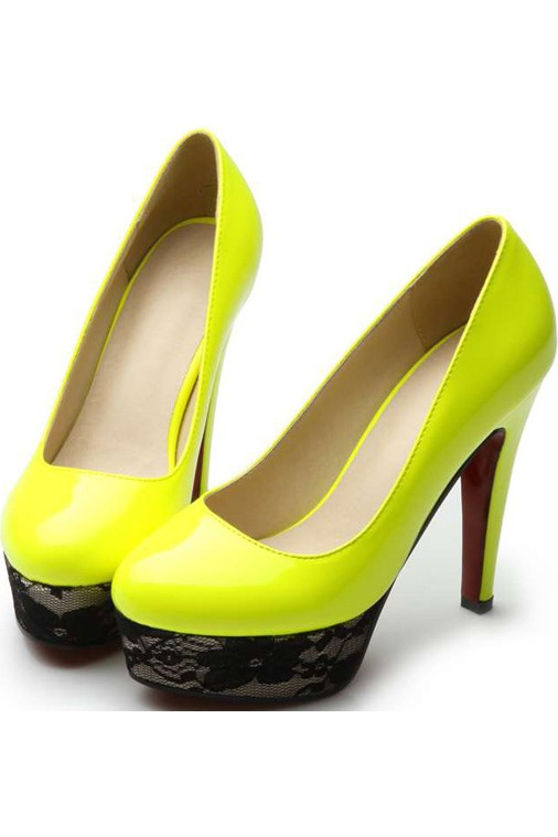 Yellow Patent Leather Lace Platform Pump Heels