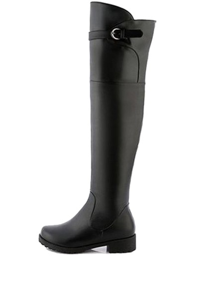 Black Pu Buckle Strap Over The Knee Riding Boots