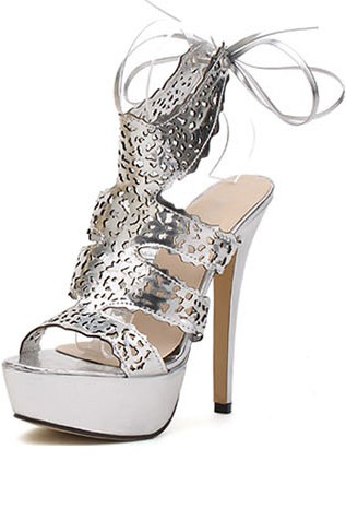 Silver Faux Leather Flare Cutout Platform Heels