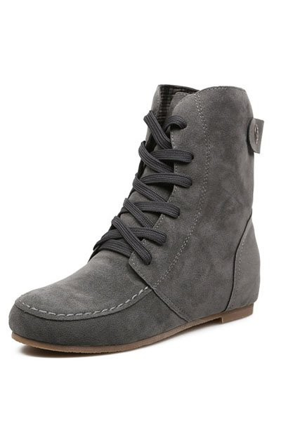 Gray Suede Lace Up Flat Ankle Boots