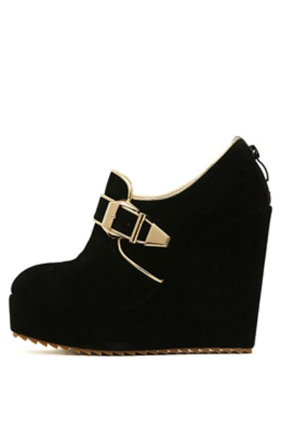 Black Suede Buckle Accent Wedges