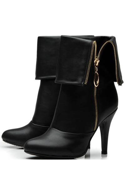 Black Pu Side Zip Fold Over Boots
