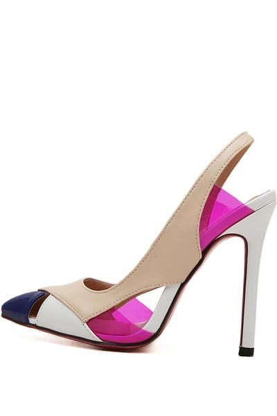 Multi Color Faux Leather Pointed Toe Slingback Heels
