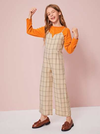 Girls Notched Neck Wide Leg Plaid Slip Jumpsuit