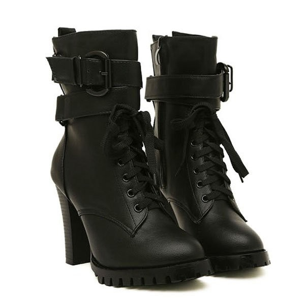 Black Faux Leather Lace Up Buckle Strap Riding Booties