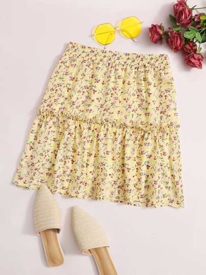Ditsy Floral Print Frill Trim Skirt