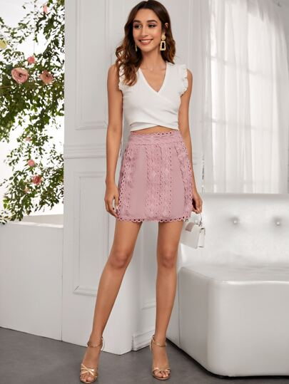 Solid Zip Back Mini A-Line Skirt