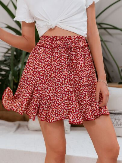 Frill Trim Tie Front Ditsy Floral Skirt